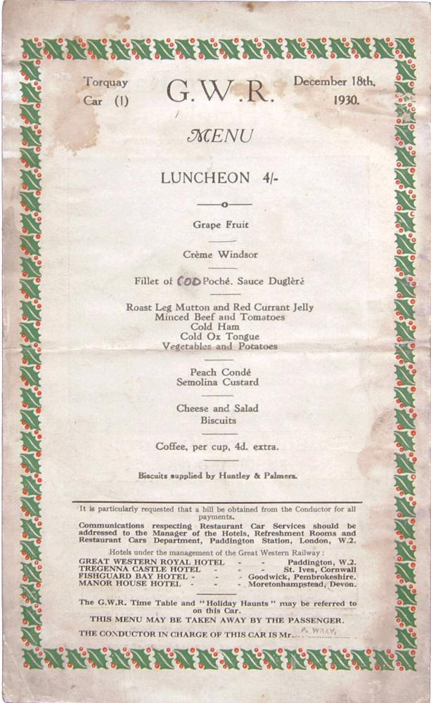 GWR Menu From The Torbay Express Dated December