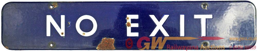 BR(E) Enamel Doorplate NO EXIT Measuring 18 Inches