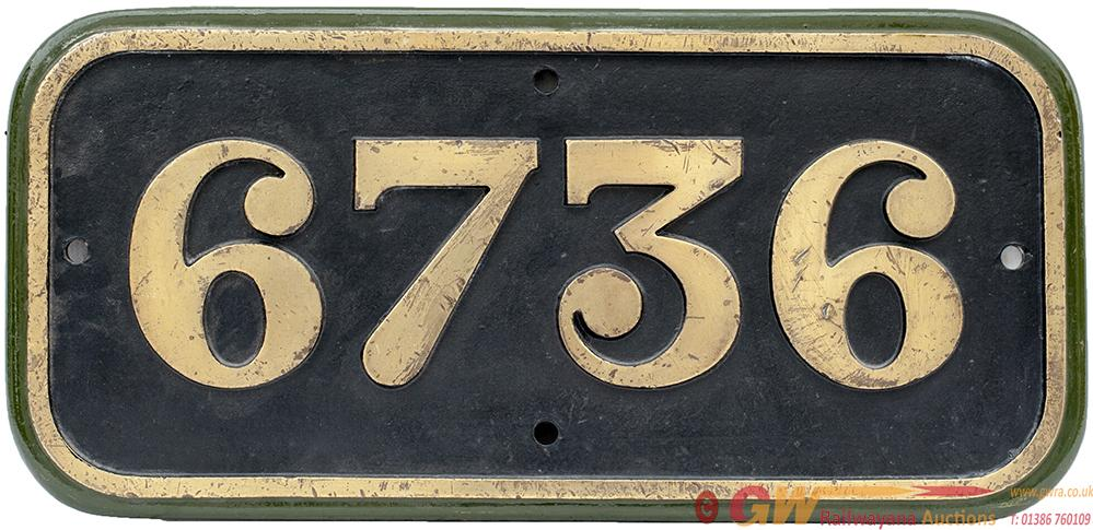 GWR Cast Iron Cabside Numberplate 6736 Ex Collett