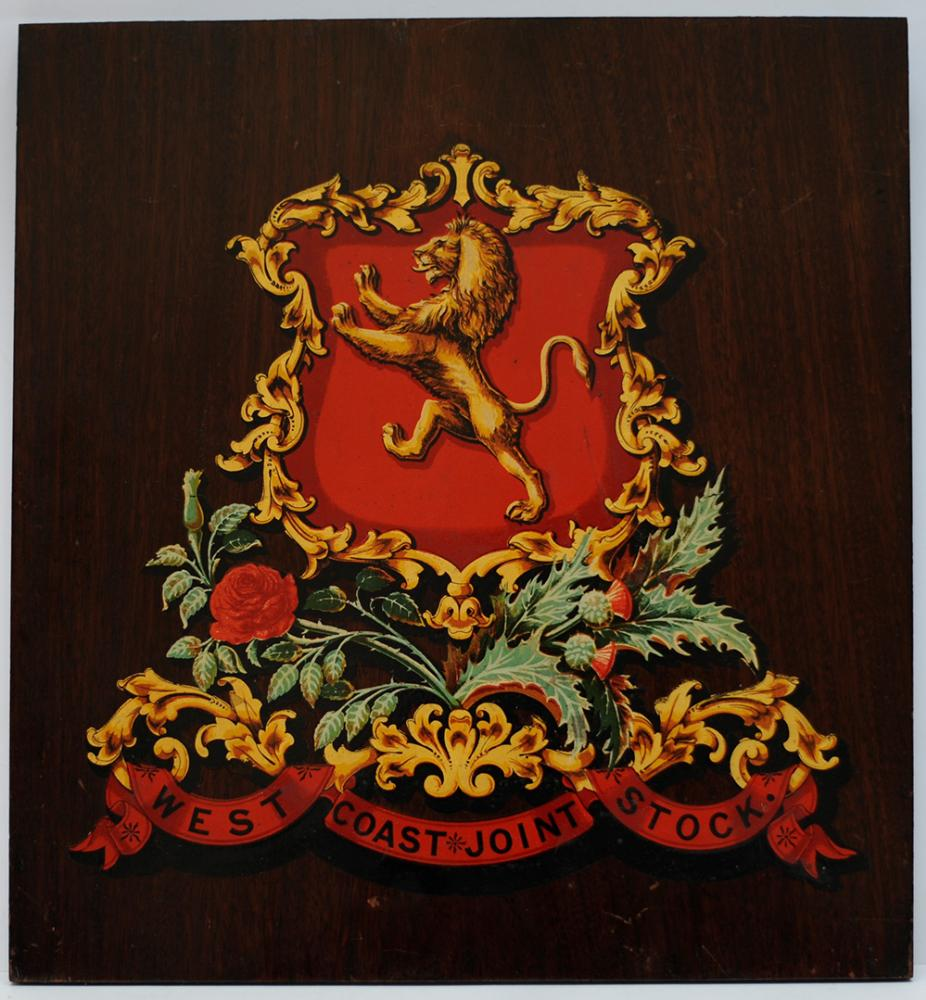 West Coast Joint Stock Mounted Crest. The Company