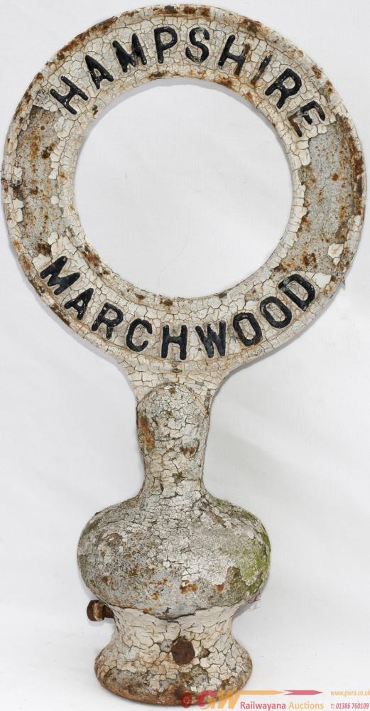 Road Sign Cast Iron Post Top HAMPSHIRE MARCHWOOD.