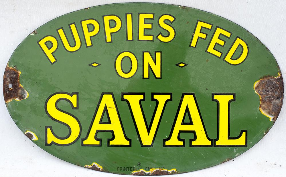Enamel Advertising Sign. PUPPIES FEED ON SAVAL.