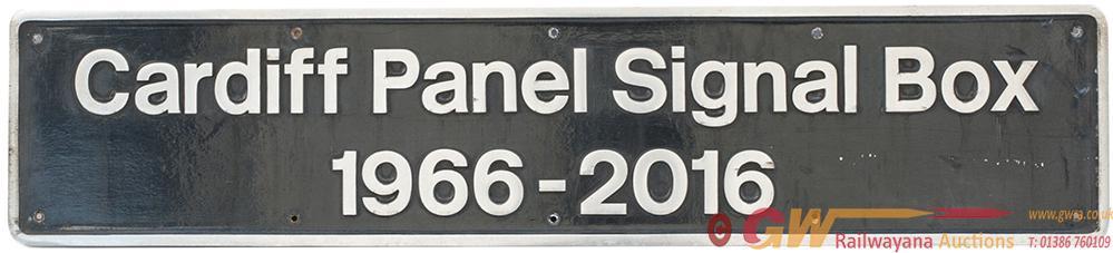 Nameplate CARDIFF PANEL SIGNAL BOX  1966 - 2016 Ex