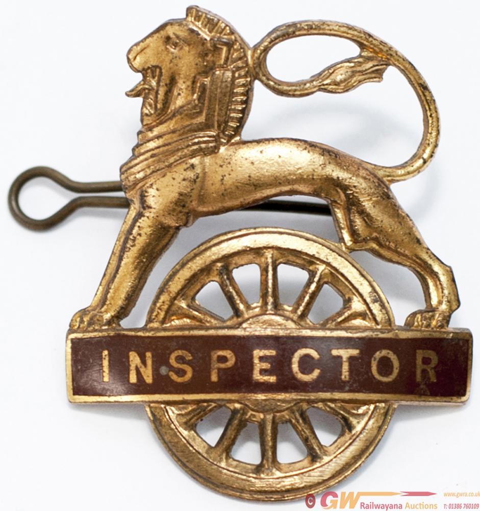 BR(W) Gilt Lion Over Wheel Cap Badge INSPECTOR. In