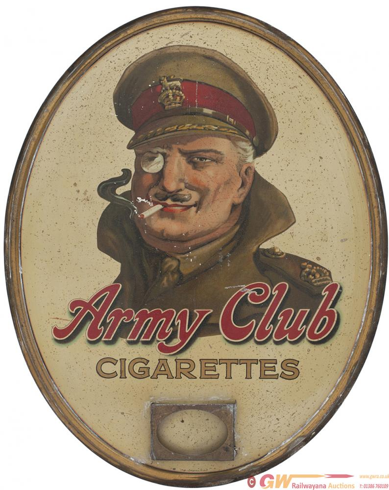Oval Tinplate Advertising Sign ARMY CLUB