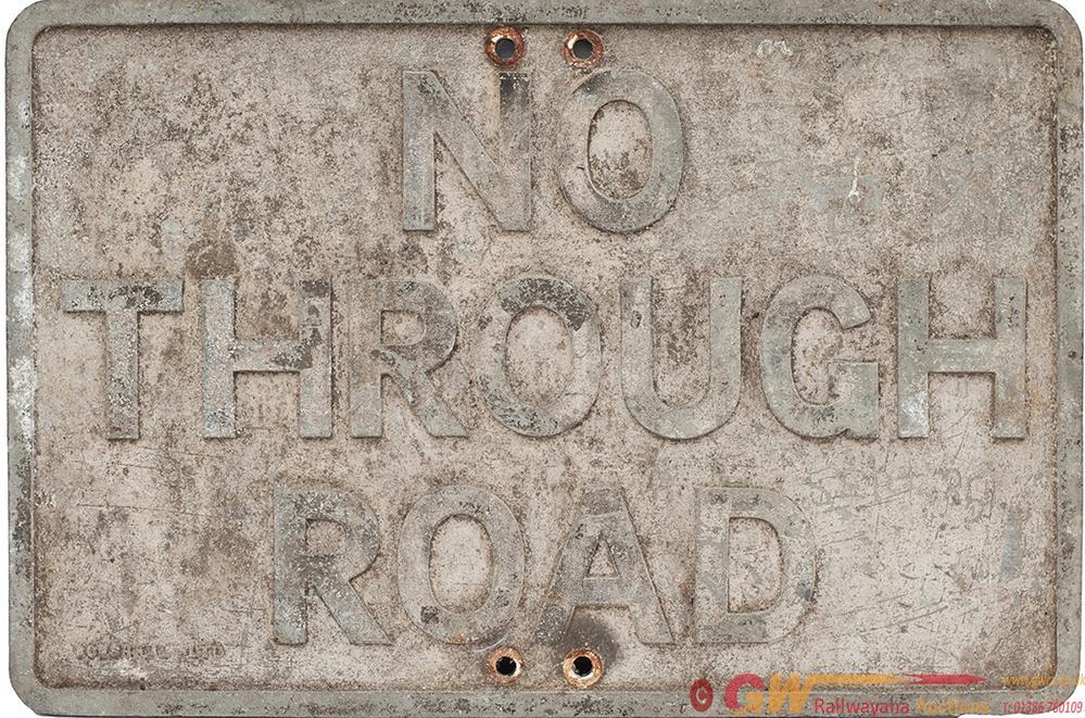 Cast Aluminium Road Sign NO THROUGH ROAD, Complete