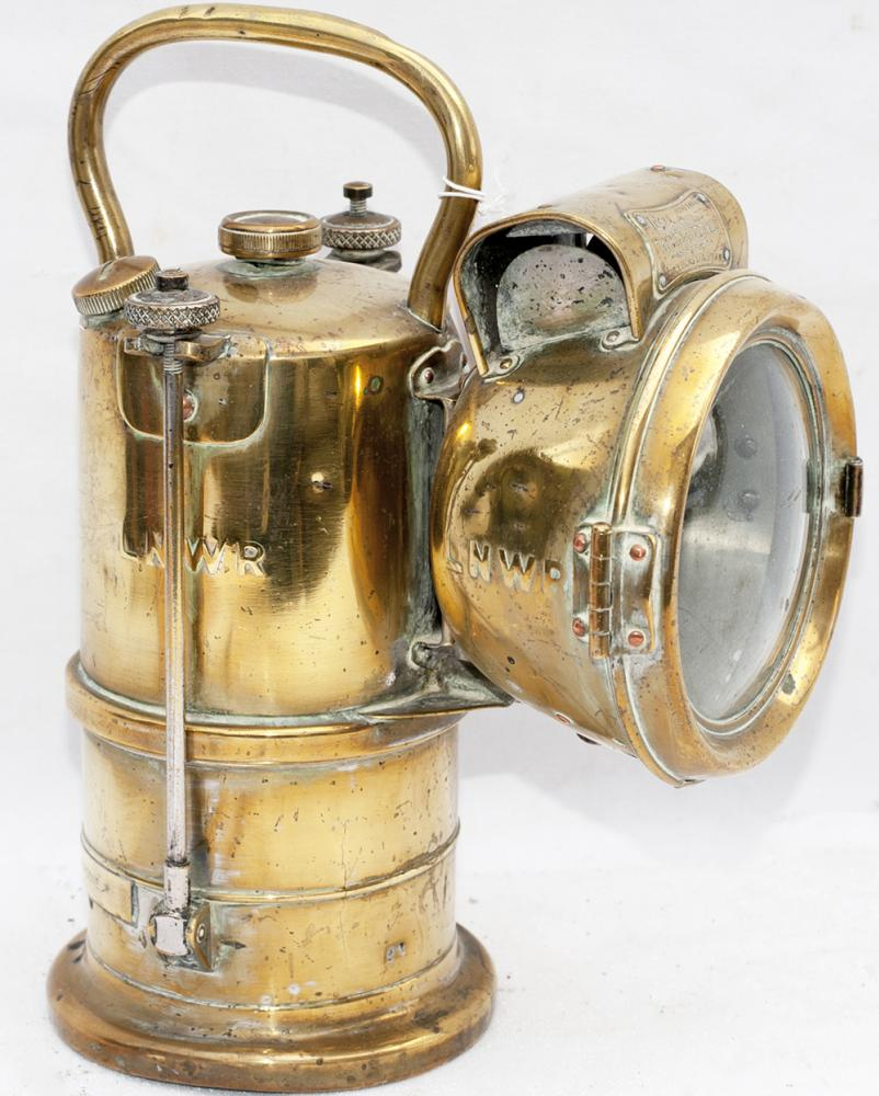 LNWR Brass Carbide Examiner's Hand Lamp Made By