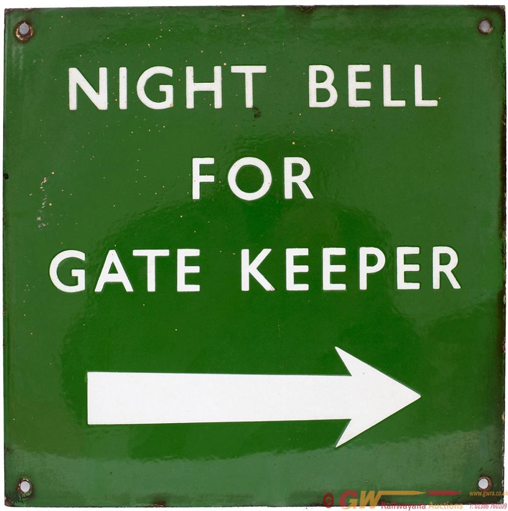 BR(S) Enamel Dark Green Sign NIGHT BELL FOR GATE