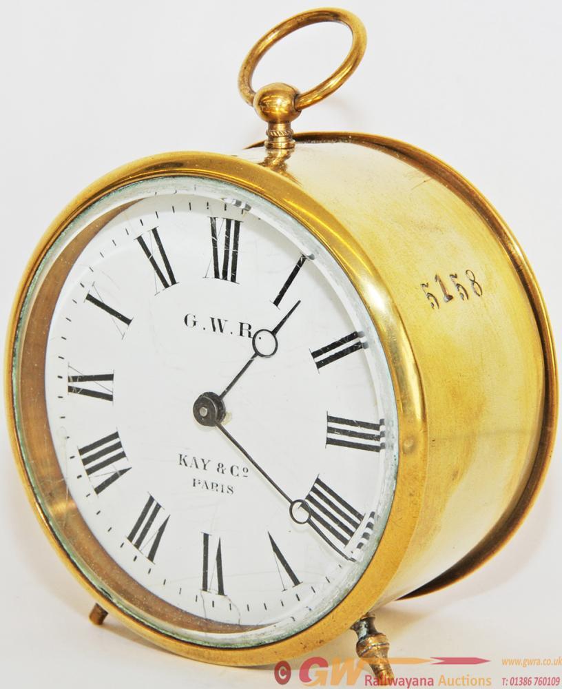 GWR Brass Cased Drum Clock With Enamel Dial 'GWR