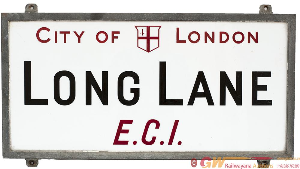 Motoring Road Street Sign CITY OF LONDON LONG LANE