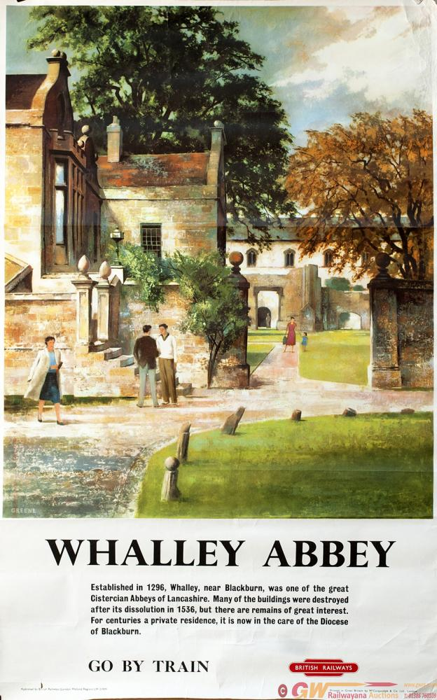 Poster BR WHALLEY ABBEY By Greene Circa 1959.