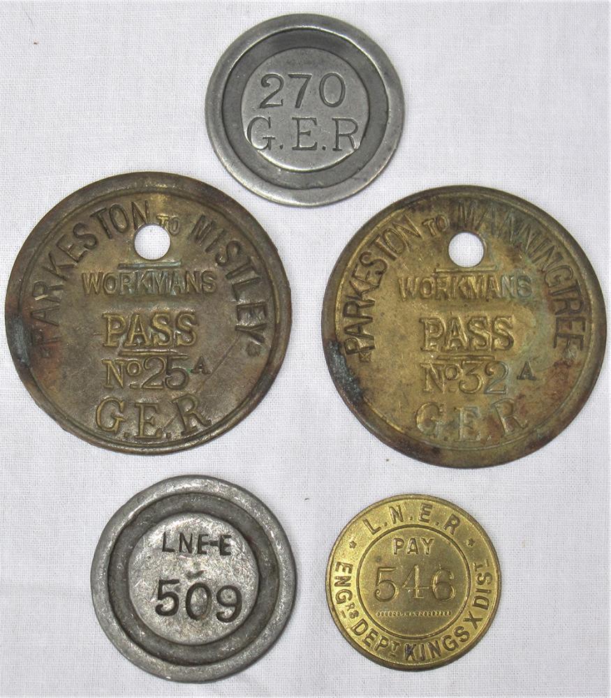 2 X GER Brass Workman's Passes. PARKESTONE -