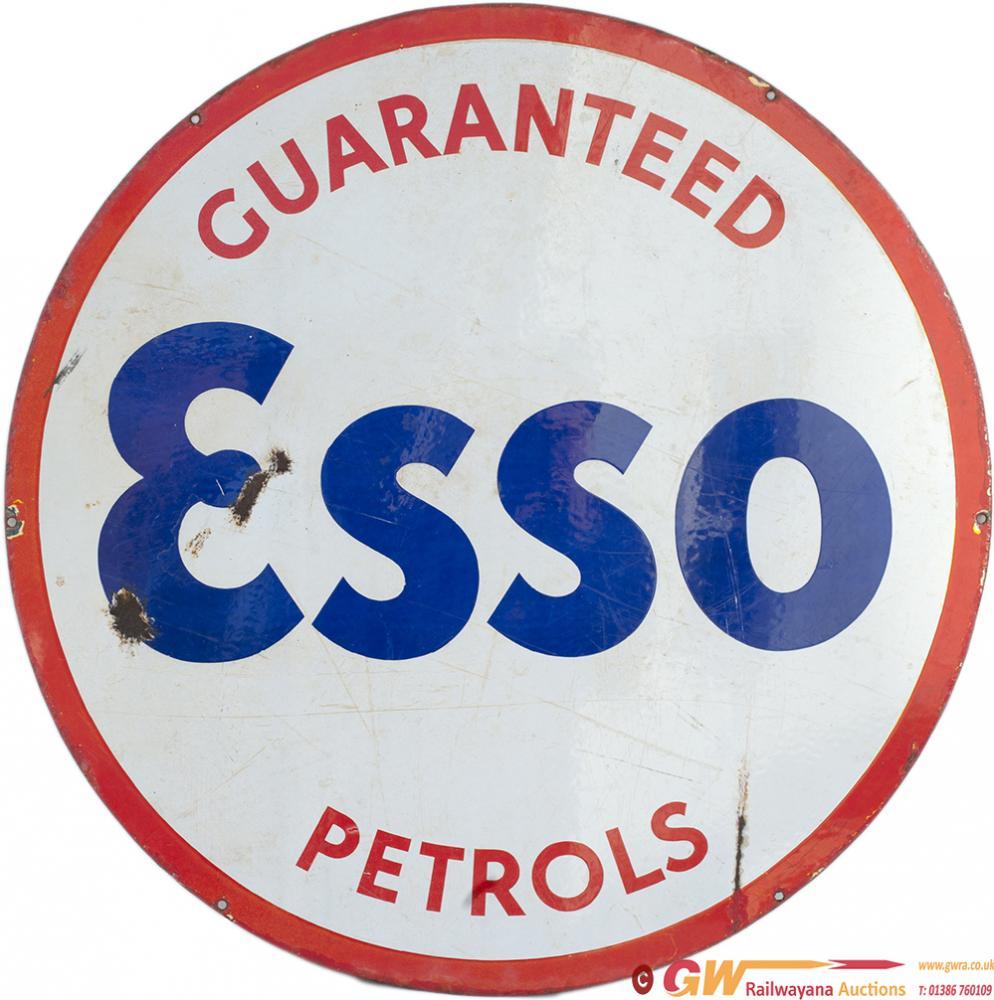 Motoring Enamel Advertising Sign GUARANTEED ESSO