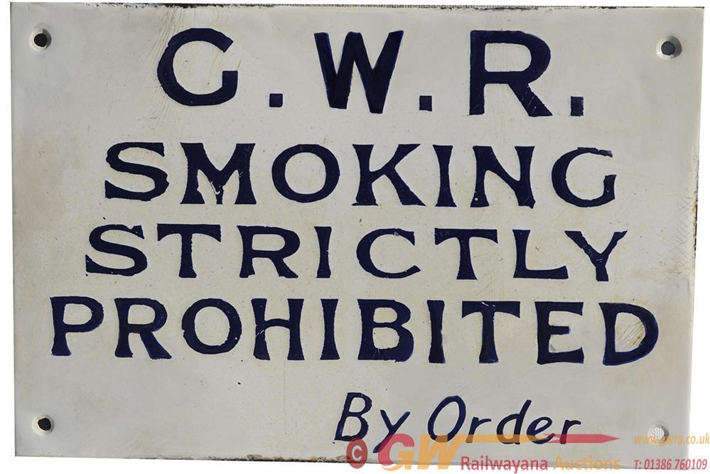 GWR Enamel Sign 'Smoking Strictly Prohibited'.
