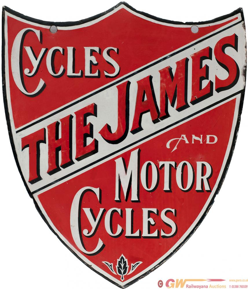 Enamel Advertising Sign THE JAMES CYCLES AND MOTOR