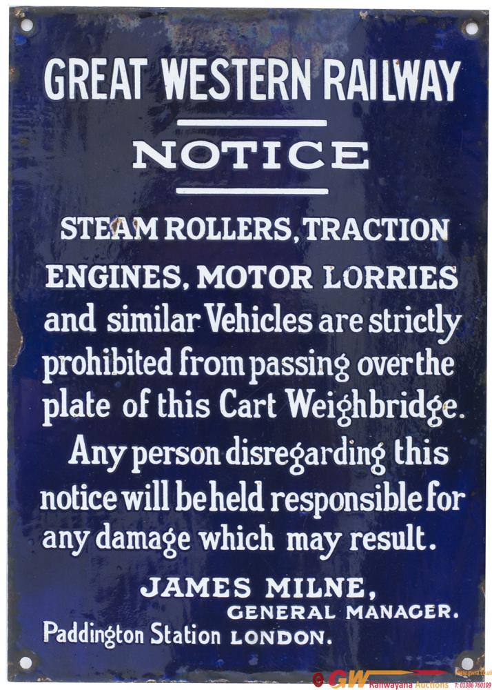 GWR Enamel Sign NOTICE STEAM ROLLERS TRACTION