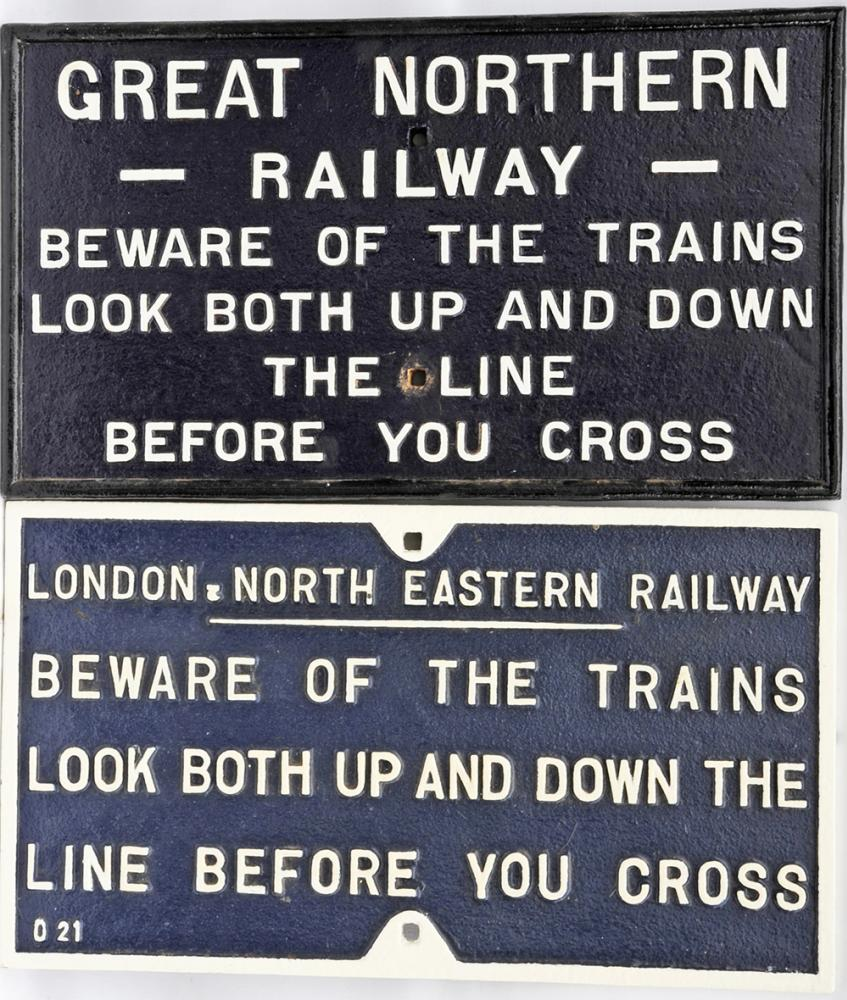 Pair Of Cast Iron Signs 'Beware Of Trains - Look