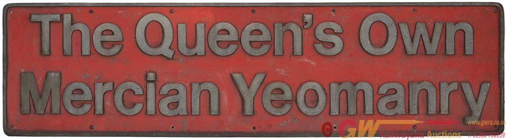 Nameplate THE QUEENS OWN MERCIAN YEOMANRY Ex BR