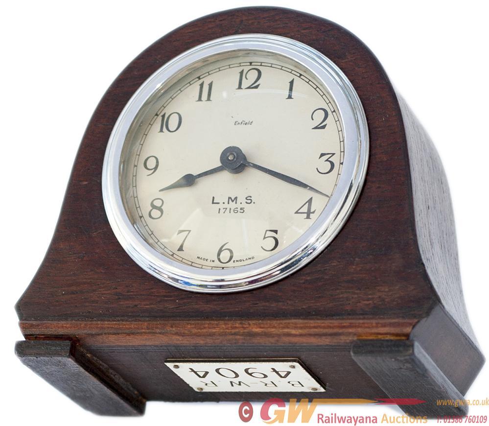 LMS Oak Cased Mantel Railway Clock. The 3.5in