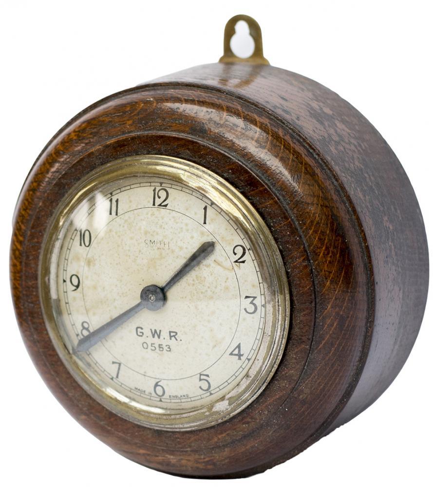 GWR Oak Cased Pork Pie Wall Clock With An English