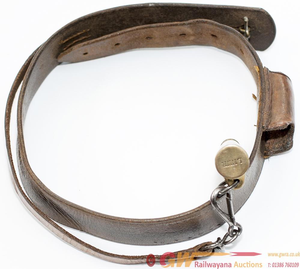 LNWR Policeman?S Whistle On A Leather Bandolier