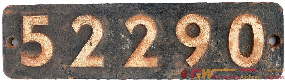 Smokebox Numberplate 52290 Ex LYR Aspinall 27