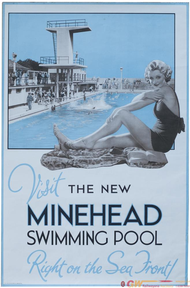 Advertising Poster VISIT THE NEW MINEHEAD SWIMMING