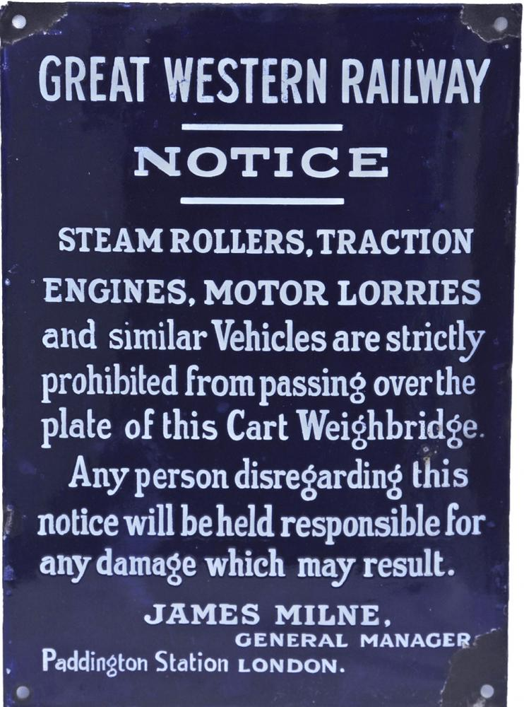 GWR Enamel Notice Steam Rollers Etc. White On