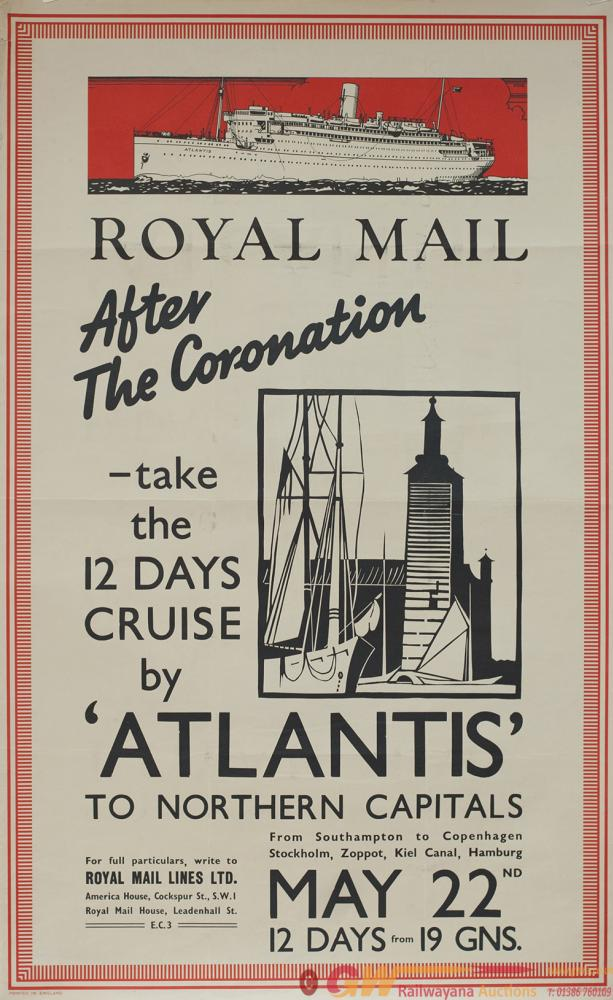 Poster Royal Mail Line AFTER THE CORONATION TAKE