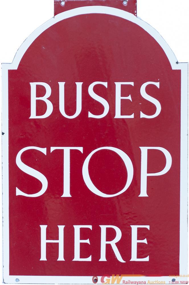 Bus Enamel Motoring Road Sign BUSES STOP HERE Ex