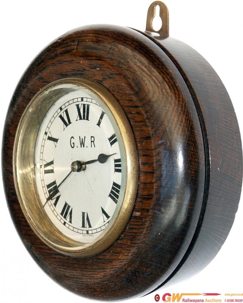 GWR Oak Cased Pork Pie Type Wall Clock With French