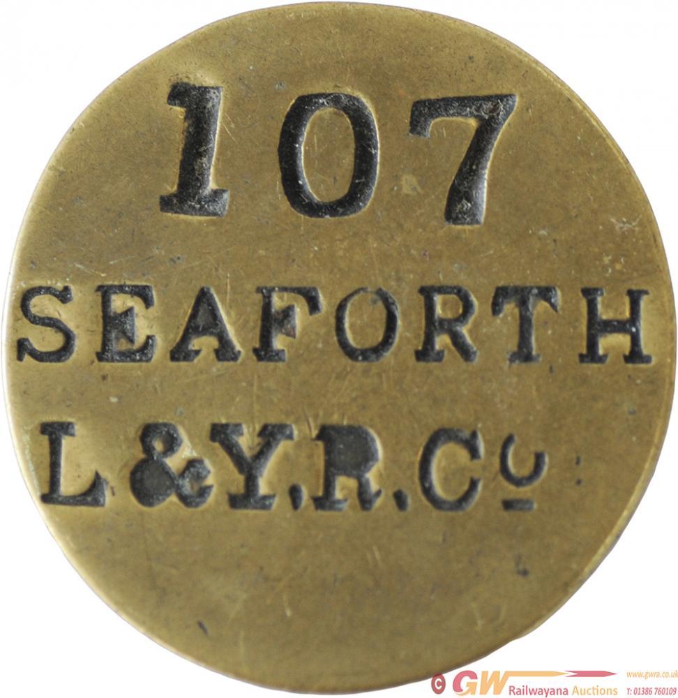 LYR Brass Paycheck, Stamped 107 SEAFORTH L&Y.R.