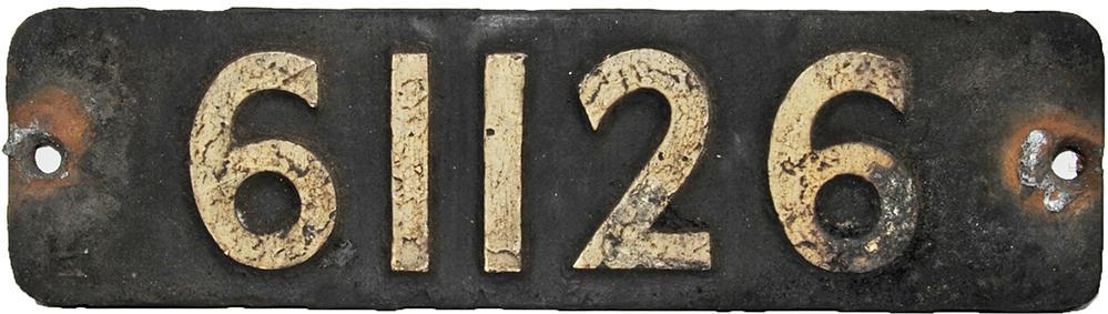 Smokebox Numberplate 61126. Ex Thompson 4-6-0 b1