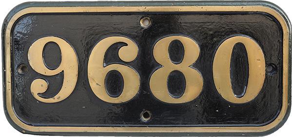 Brass Cabside Numberplate 9680. Ex 0-6-0pt Built