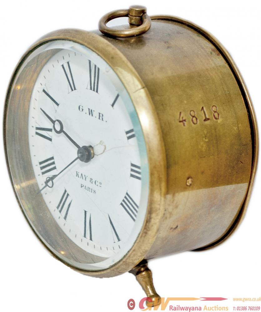 GWR Brass Drum Railway Clock With Enamelled Dial