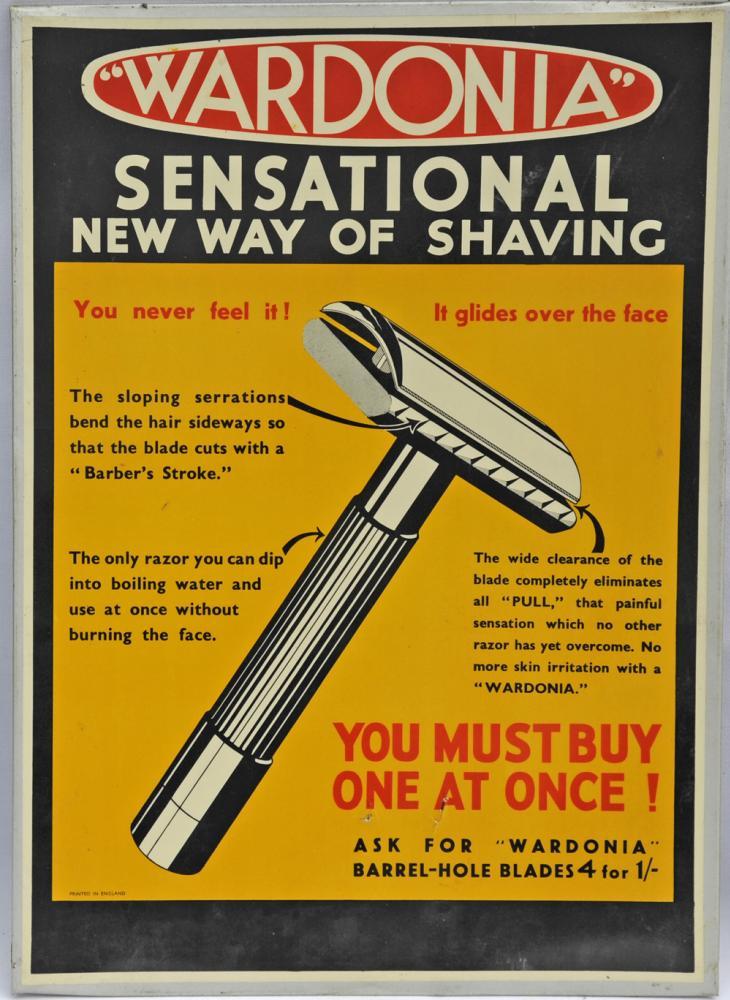 Tin Advertising Show Card Wardonia Shavers,