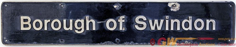Nameplate 'Borough Of Swindon', Cast Aluminium. Ex