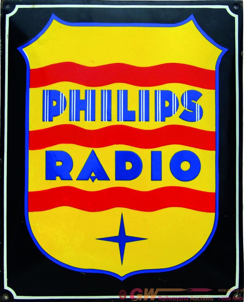 Enamel Advertising Sign 'Philips Radio' Measuring