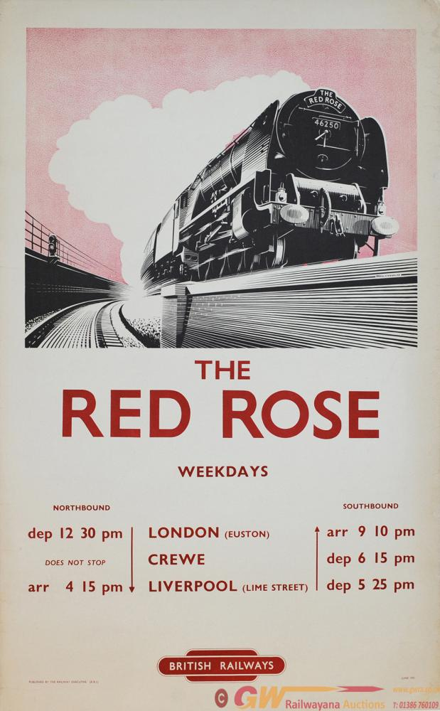 Poster British Railways 'The Red Rose' By A.N.