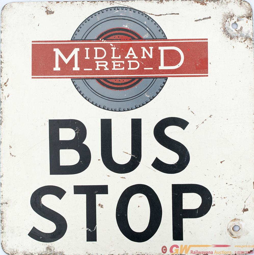 Bus Sign MIDLAND RED BUS STOP. Screen Printed