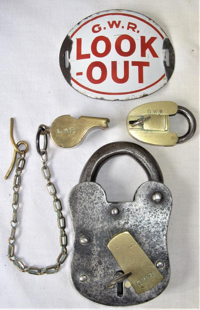 A Lot Containing 4 X Railway Items. A GWR Padlock
