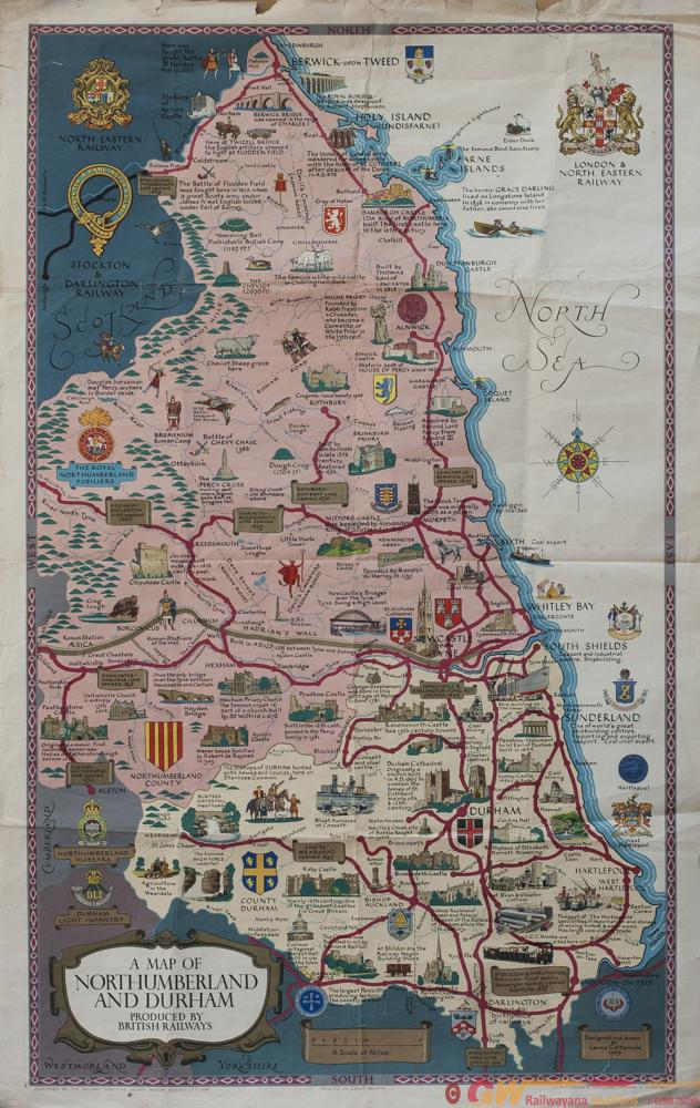 Poster BR(NE) A MAP OF NORTHUMBERLAND AND DURHAM