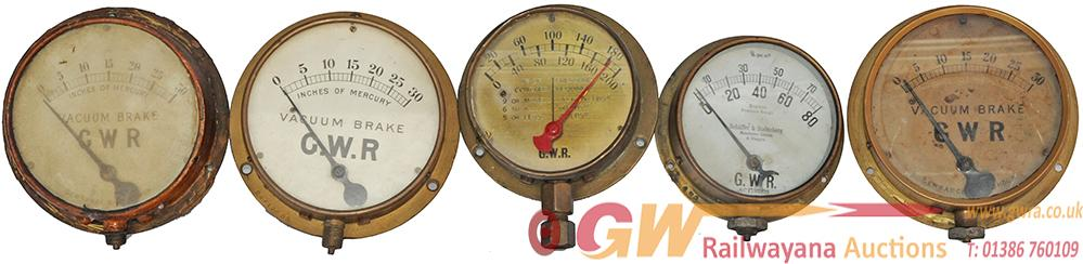 GWR Pressure Gauges, Qty 5 All Complete And In Ex