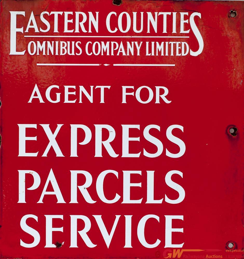 Motoring Bus Enamel Sign EASTERN COUNTIES OMNIBUS