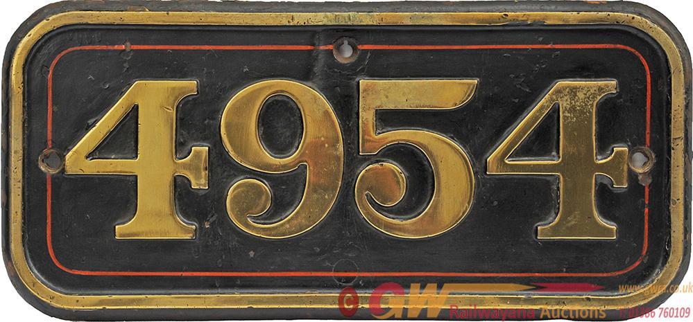 GWR Brass Cabside Numberplate 4954.Ex GWR Hall