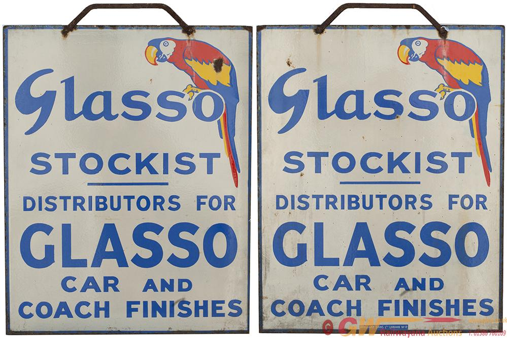 Motoring Enamel Advertising Sign GLASSO STOCKIST