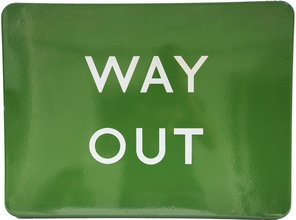 BR(S) Enamel Sign Way Out, 24 X 18,F/F.Virtually