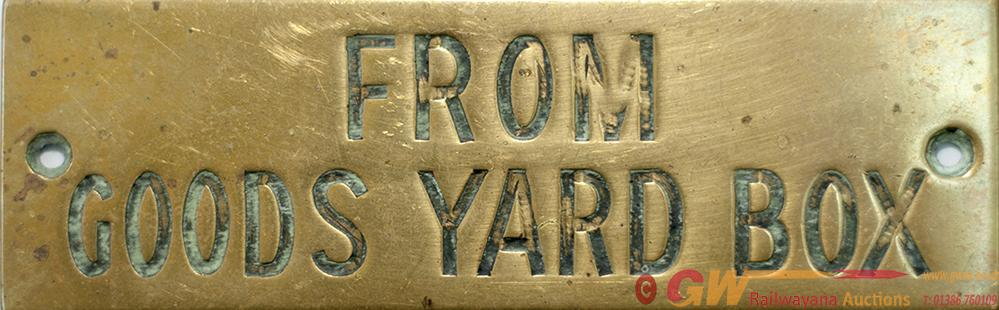 GWR Brass Hand Engraved Shelf Plate FROM GOODS