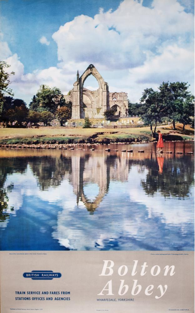 Poster BR(E) BOLTON ABBEY WHARFDALE YORKSHIRE From
