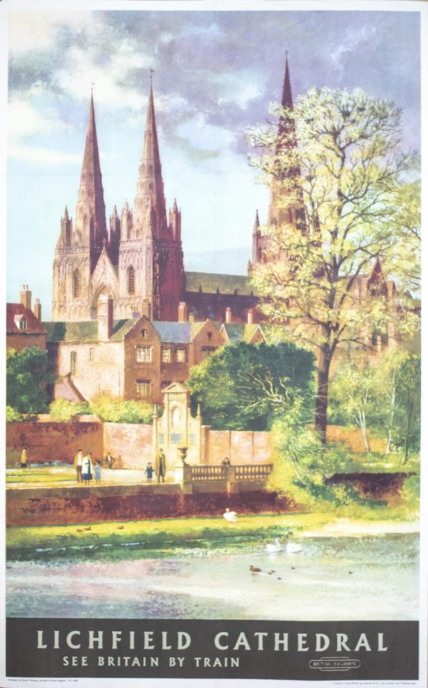 Poster BR(M) LICHFIELD CATHEDRAL SEE BRITAIN BY